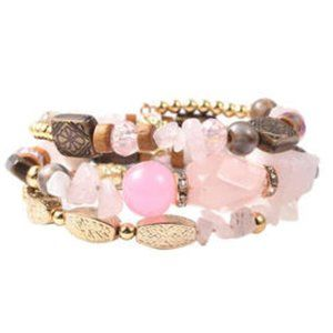 Brazilian Rose Quartz Fancy Free Wrap Bracelet